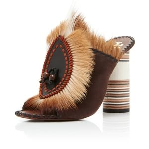 Tory Burch Phoenix Fur Mule 105MM Size 9